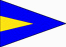 Blue Triangle Flag with Yellow Triangle Inside